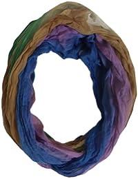 BRUBAKER Damen Loopschals Neon Knockout Crinkle Voila farbenfrohe Batiknuancen 50x160 cm