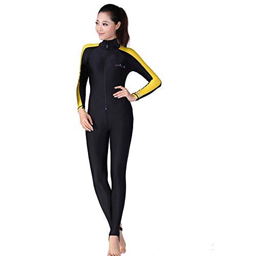 Ein Point Damen Herren Neoprenanzug Full Body Sport Skins Tauchanzug Schnorcheln Schwimmen Gr. S(155-160 cm), women's yellow