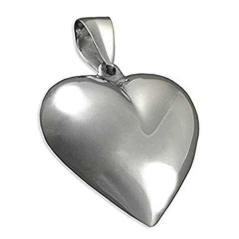 Extra Large Puffed Heart Sterling Silver Pendant - On 20