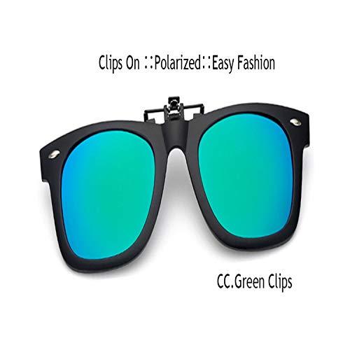 Sport-Sonnenbrillen, Vintage Sonnenbrillen, NEW Clip On Sunglasses Men Flip Up Clips Lenses Driving Sun Glasses Polarisiert Women Myopia Night Vision Flip Up Green