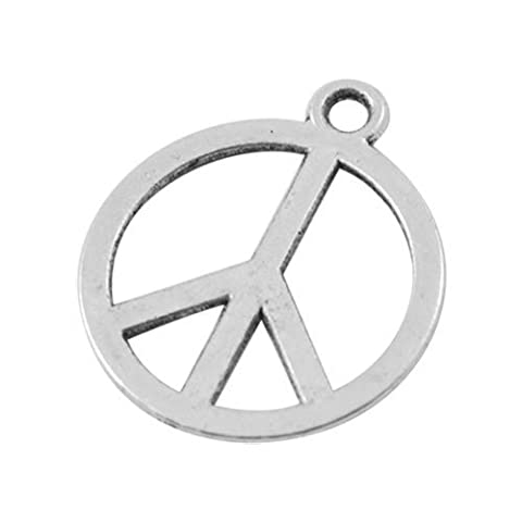 Packet of 20 x Antique Silver Tibetan 14mm Charms Pendants (Peace Sign) - (ZX09295) - Charming Beads