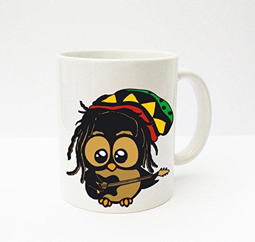 ilka parey wandtattoo welt® Becher Tasse Kaffeetasse Cup Mug Eule Bob Marley ts139