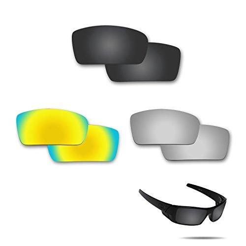 fiskr anti-saltwater Polarisierte Ersatz Gläser für Oakley Gascan 3Paar Pack, Stealth Black & Metallic Silver & 24K Gold