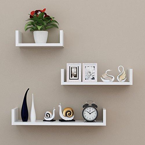 Knmkl Wandregal TV Hintergrund Wanddekoration Bücherregal Wand Partition Schlafzimmer Wohnzimmer U-Typ Lagerung Display Ständer 3 Stück (Größe: 30cm, 40cm, 50cm) (Farbe : Weiß) -