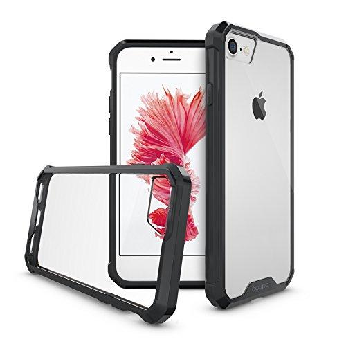 """doupi PerfectFit AirClear Case per iPhone 8 / 7 ( 4.7"""" ) con Crystal Clear Backcover e Protettivo Telaio Paraurti, nero nero"""