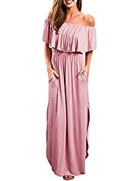 Freestyle Sommer Damen Maxikleider mit Schlitz Freizeit Einfarbig Lange  Kleid Blusenkleider Strandkleider Sexy Mode EIN Wort 51ca4ce68e