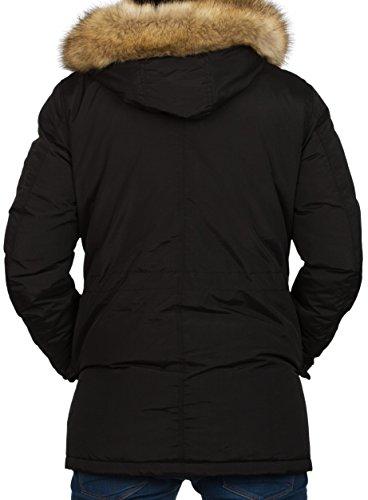 Gefütterte Herren Winterjacke mit Kunst Fell Kapuze Coat der Marke Young & Rich Jacke Parka Mantel in den Größen S M L XL XXL Schwarz