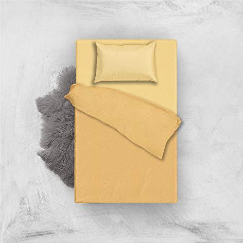 L'antico arcolaio set completo letto lenzuola microfibra no stiro bicolore jaquard (oro/giallo, una piazza e mezza)