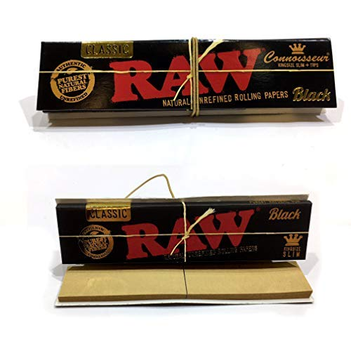 RAW Black Connoisseur King Size Slim Papers + Tips - 1 Packung