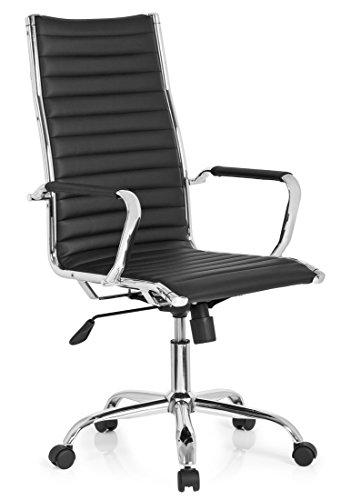 hjh OFFICE 660940 Profi Chefsessel VEMONA 20 Kunstleder Schwarz/Chrom moderner Bürostuhl Drehstuhl mit hoher Rückenlehne