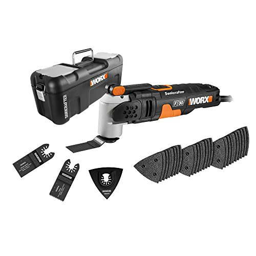 The WORX WX680 F30 350W Sonicrafter Multi-Tool Oscillating Tool is a good versatile tool designed to complete many DIY applications. The inclusion of 29 accessories at least ensures you have enough for cutting, sanding, scraping, sawing, among other tasks.