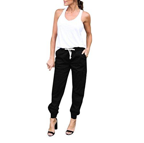 Pantalon de Sport ❤️ Femmes leggings Fitness Yoga Pantalons athlétiques ❤️ Haute taille Sports Cargo Pantalons Outdoor pantalons Casual pantalon (Black, S)