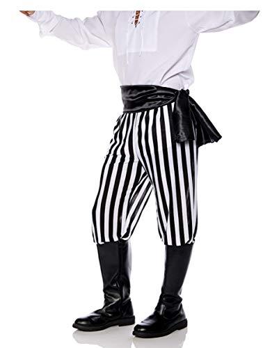 Schwarz-weiß gestreifte Piraten Kostüm Hose für Herren
