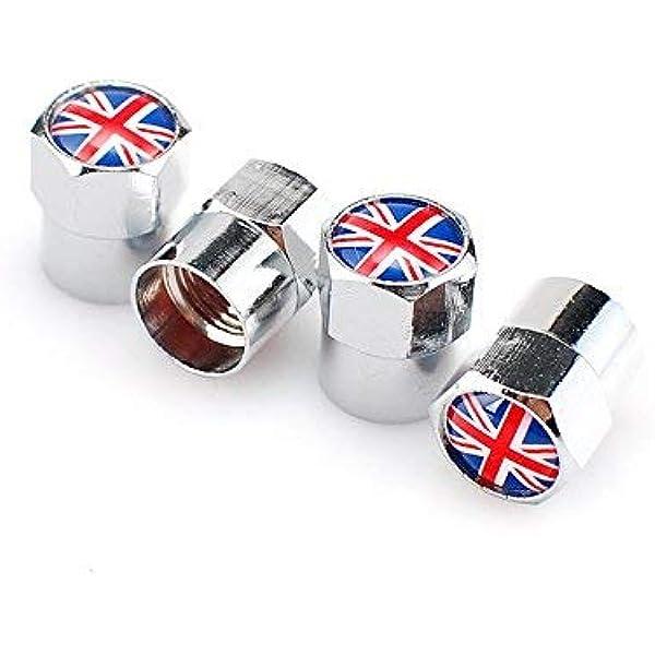 Goliton Britische Flagge Mini Ventilkappe Metall Gasdüsenkappe Silber Auto