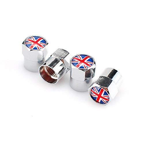 Goliton® Britische Flagge Mini Ventilkappe Metall Gasdüsenkappe - Silber