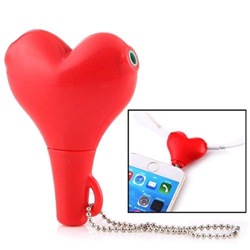 Kabel und Adapter 1 männlich bis 2 weiblich 3.5mm Klinkenstecker Multifunktions Herz geformt Kopfhörer Audio Video Splitter Adapter mit Schlüsselkette für iPhone, iPad, iPod, Samsung, Xiaomi, HTC und -