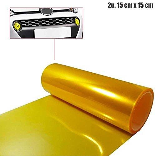 2x ScheinWerfer Tönungs Folie Nebel KFZ Car Tuning Licht 15cm x 15cm Gelb Yellow Licht Scheinwerfer