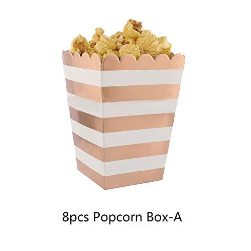 outopen Partygeschirr-Set Roségold Popcorn Box Papierhandtücher Papiertüten Teller für Partyzubehör 8pcs Popcorn Box-a