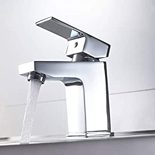 Architeckt Modern Bathroom Square Mono Basin Sink Mixer Tap Brass Single Lever Chrome
