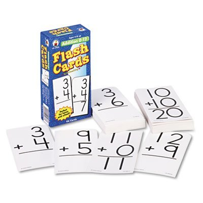 Flash Cards, Addition Facts 0-12, 3w x 6h, 94/Pack, Sold as 1 Package by Carson-Dellosa