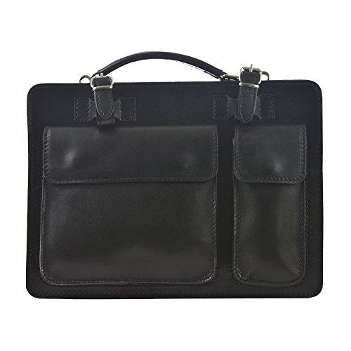 CTM Unisex Business Tasche, Aktentasche, Organizer in italienischem Leder Made in Italy D7006 - 35x25x12 Cm Schwarz
