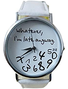 BeautyTop Mode Frauen Was auch immer ich bin Late Anyway Buchstaben Uhren PU Leder Armbanduhr (Weiß)