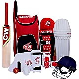 Cricket World 9 (Nine) Item Storm Red Complete Cricket Accessories Inclusive Sports Game Match Tournament Performance Club All Cricket Item Full Set (Bat+Bag+Ball+Leg Pads+Helmet+Batiing Gloves +Arm & Thai Guard) Original Products Lowest Price _Best Q