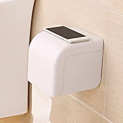 ASSIS Powerful Suction Cup Toilet Roll Holder Waterproof Toilet Paper Frame Toilet Paper Tissue Holder-White
