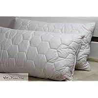 2x lana de oveja merina estándar almohada 45x 75cm, 1000g/m². Natural ropa de cama. Funda con cremallera.