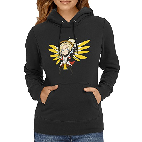TEXLAB - Angel Wings - Damen Kapuzenpullover, Größe S, schwarz
