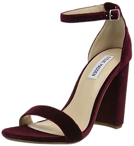 Steve Madden Womens Open Toe Heels (Steve Madden Footwear Damen Carrson Sandal Knöchelriemchen, Rot (Burgundy), 37 EU)