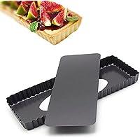 Molde rectangular antiadherente Pan de Quiche,Molde Quiche, Molde para tarta de 14.4 pulgadas con con Base Extraíble
