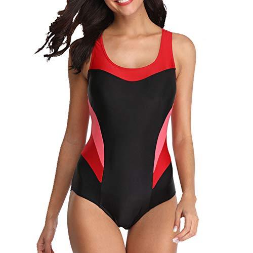 HFXOzj Frauen Schwimmen Kostüm Badeanzug Badebekleidung Flachnähte Sport Bulit in BH Soft Cups,D,XL