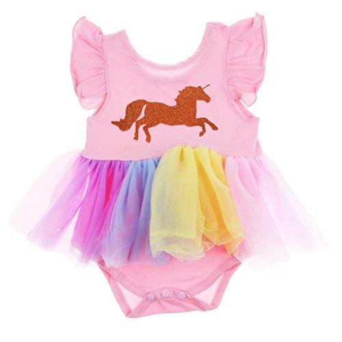 Homyl Baby Mädchen Einhorn Bodys Strampler Overalls Bodysuits Tütü Geburtstag Geschenk Outfits Verkleidung - Rosa, 70cm