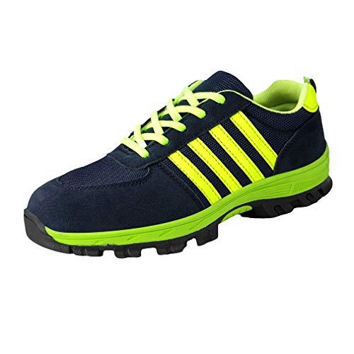Männer Stripe Labour Insurance Schuhe - Herren Anti-Smashing Sicherheits-Sneaker Lässige Schutzschuhe Anti-Punktion Runde Zehe Flache Schuhe Stilvolle Bequeme Mesh-Schuhe Steel Toe Cap Steel Toe Schuhe