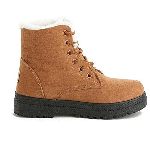 Stivali peluche a fondo piatto Caldo e confortevole freddo Scarpe outdoor casual invernali da donna , 39 , brown 43