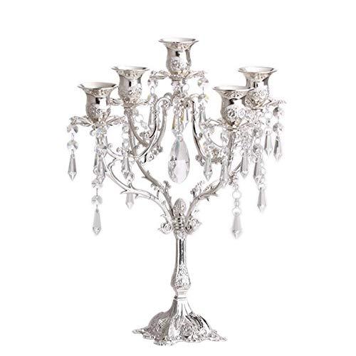 WYEING. Kerzenleuchter Kristall Kerzenhalter,5-Armig, Kristallglas Vintage Kerzenhalter Kerzenständer Tisch Mittelpunkt 5 Lichter for Party Ceremony Wedding Centerpiece Home Decoration,Silver -