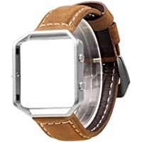 Wearlizer Vintage Replacement Leather Strap with Metal Frame for Fitbit Blaze