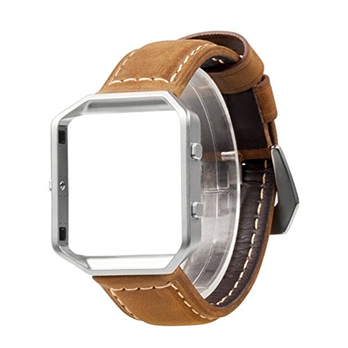 419VYTPRi5L UK BEST BUY #1Wearlizer Vintage Replacement Leather Strap with Metal Frame for Fitbit Blaze   Brown Small price Reviews uk