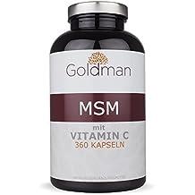 Goldman MSM Schwefel • 6 Monate Vorrat • Hochdosierte organische Nahrungsergänzung • 360 vegane Kapseln • Zuckerfrei, laktosefrei, glutenfrei • Methylsulfonylmethan • Made in Germany