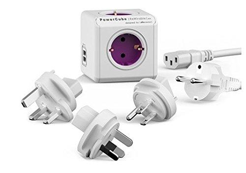 allocacoc PowerCube DuoUSB ReWirable Travel Plugs + DE Kabel, Reiseadapter & 4X Verteiler mit USB (2,1 A), 230V Schuko