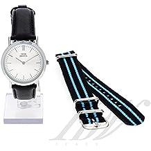 Uhr Frau THINK POSITIVE® Modell SE W95 Flache Uhr Medium Stahl Lederband in Italien und Cordura (schwarz)