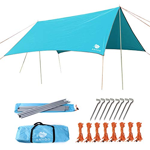 Anyoo Ripstop Rain Tarp Beach Tent Hamaca Fly Sunshade 3 X 3 m Ligero Impermeable Shelter para Acampar Senderismo Backpacking Poles Stakes Incluido