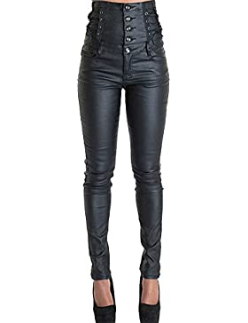 Mujer Mallas De Cuero Pantalones Imitacion Cuero Elásticos Leggins Polipiel