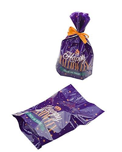 Black Temptation Packung mit 50 niedlichen Süßigkeiten Wrappers Cookie Taschen für Halloween, G4