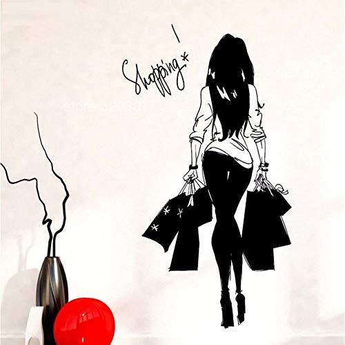 Hhyyoo Mode Junge Frau Einkaufstasche Bekleidungsgeschäft Vinyl Wand Applique Wandaufkleber Bekleidungsgeschäft Einkaufen Mädchen Schlafzimmer Wasserdichte Dekoration 42 * 75 Cm