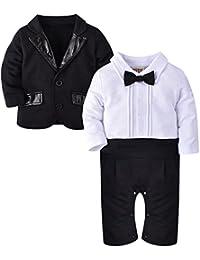 ZOEREA 2pcs de los bebés Caballero del juego del equipo del mono de la chaqueta + romper para el bautismo cumpleaños de la boda (3-18 meses)