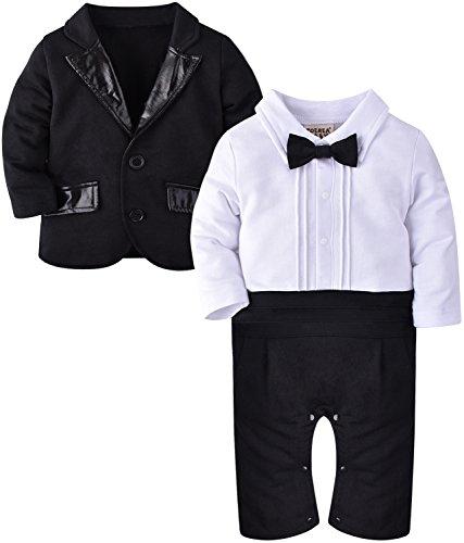 ZOEREA 2tlg Baby Junge Strampler Baumwolle lange Ärmel gesamte Gentleman Suit für Taufe Geburtstagsfeier (Am Schwarz Kostüme Besten Alle)