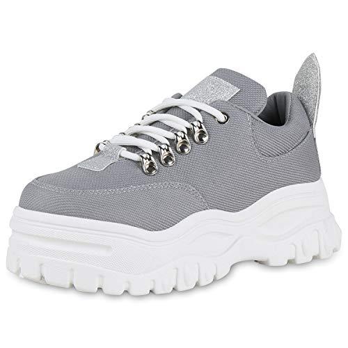 SCARPE VITA Damen Chunky Sneaker Plateau Turnschuhe Glitzer Schuhe Schnürer Modische Freizeit Schnürschuhe Profilsohle 180497 Grau 39