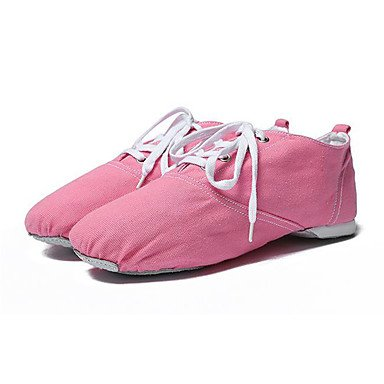 Wuyulunbi@ Donna Ballet Canvas suola piena Sneaker Professional tacco piatto Rosa Rosso Bianco Nero US7 / EU39 / UK6 Big Kids